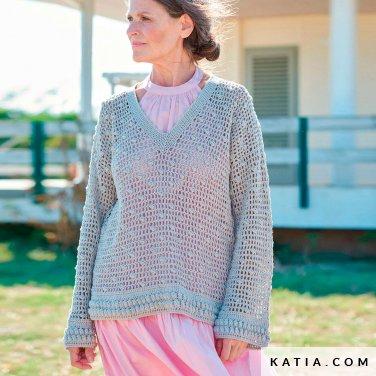 patroon breien haken dames trui lente zomer katia 6254 14 p