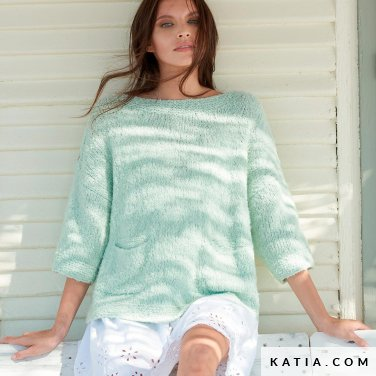 patroon breien haken dames trui lente zomer katia 6254 2 p