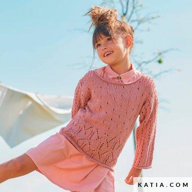 patroon breien haken kinderen trui lente zomer katia 6254 28 p