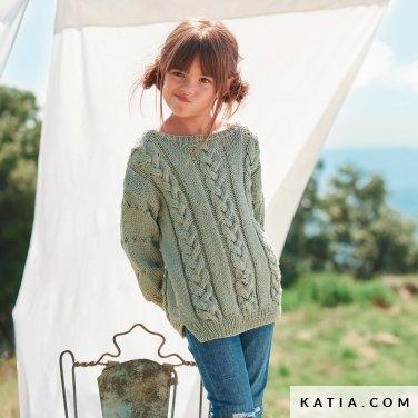 patroon breien haken kinderen trui lente zomer katia 6254 34 p