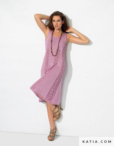 42beafa7e patron tejer punto ganchillo mujer vestido primavera verano katia 6725 13 g  ...