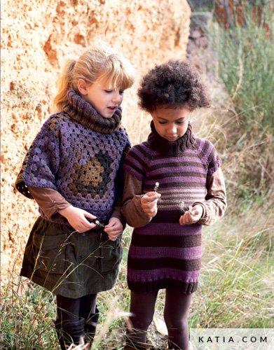 Poncho Kinder Herbst Winter Modelle Anleitungen Katia Com