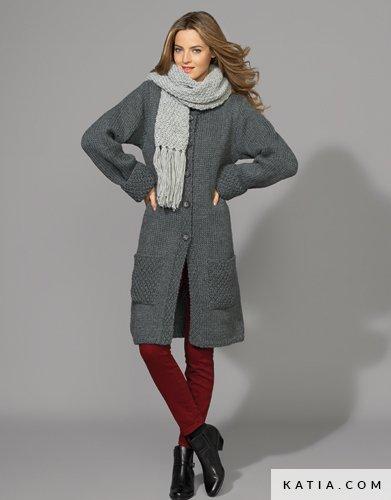 34a916f46fe7b patron tejer punto ganchillo mujer abrigo otono invierno katia 6896 35 g ...