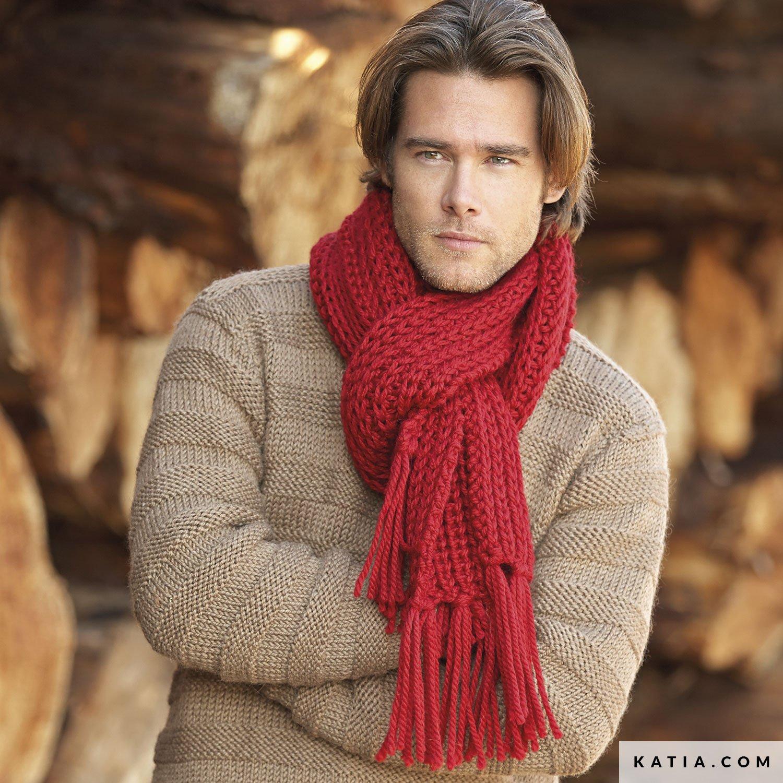 Scarf Man Autumn Winter Models Patterns Katia