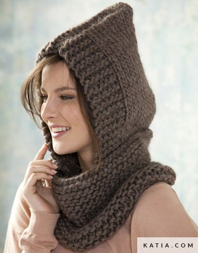 Hooded Cowl Woman Autumn Winter Models Patterns Katia