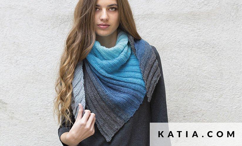 pattern knit crochet woman foulard scarf autumn winter katia 8024 376 g