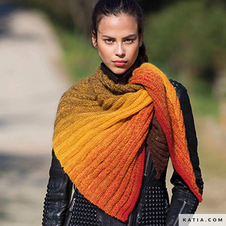 patroon breien haken dames omslagdoek herfst winter katia 8026 452 g