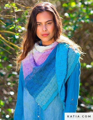 pattern knit crochet woman foulard scarf autumn winter katia 8026 446 g