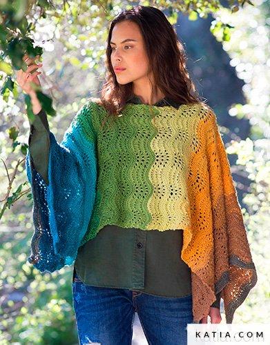 pattern knit crochet woman poncho autumn winter katia 8026 442 g