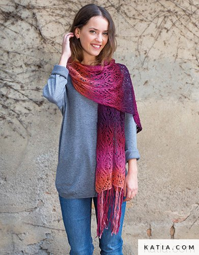 pattern knit crochet woman scarf autumn winter katia 8026 466 g