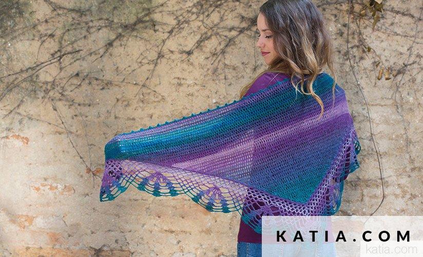 pattern knit crochet woman shawl autumn winter katia 8026 468 g