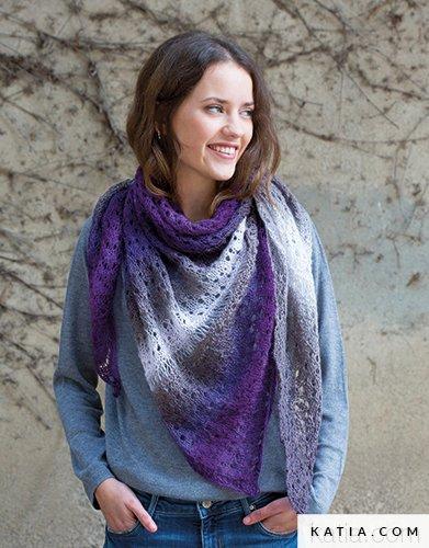 pattern knit crochet woman shawl autumn winter katia 8026 470 g