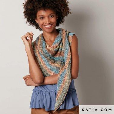 pattern knit crochet woman foulard scarf spring summer katia 8027 478 p