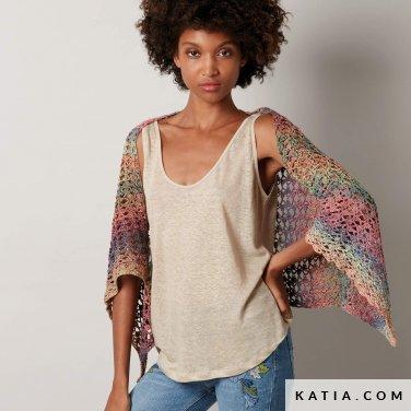 pattern knit crochet woman sleeves spring summer katia 8027 482 p