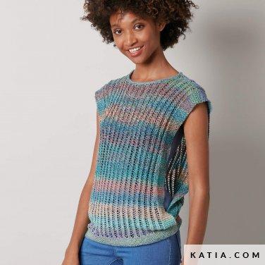 pattern knit crochet woman top spring summer katia 8027 480 p
