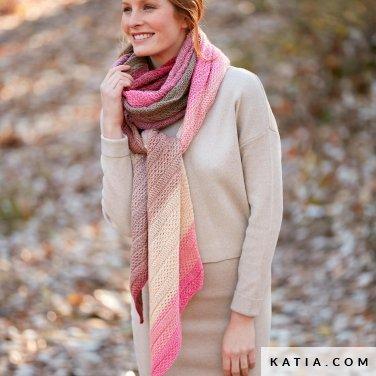 pattern knit crochet woman scarf autumn winter katia 8028 468 p
