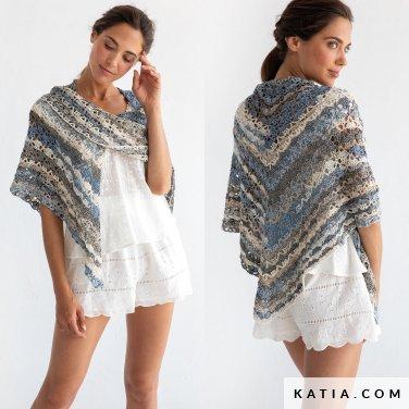 pattern knit crochet woman foulard scarf spring summer katia 8029 490 p