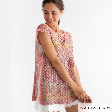 pattern knit crochet woman vest spring summer katia 8029 480 p