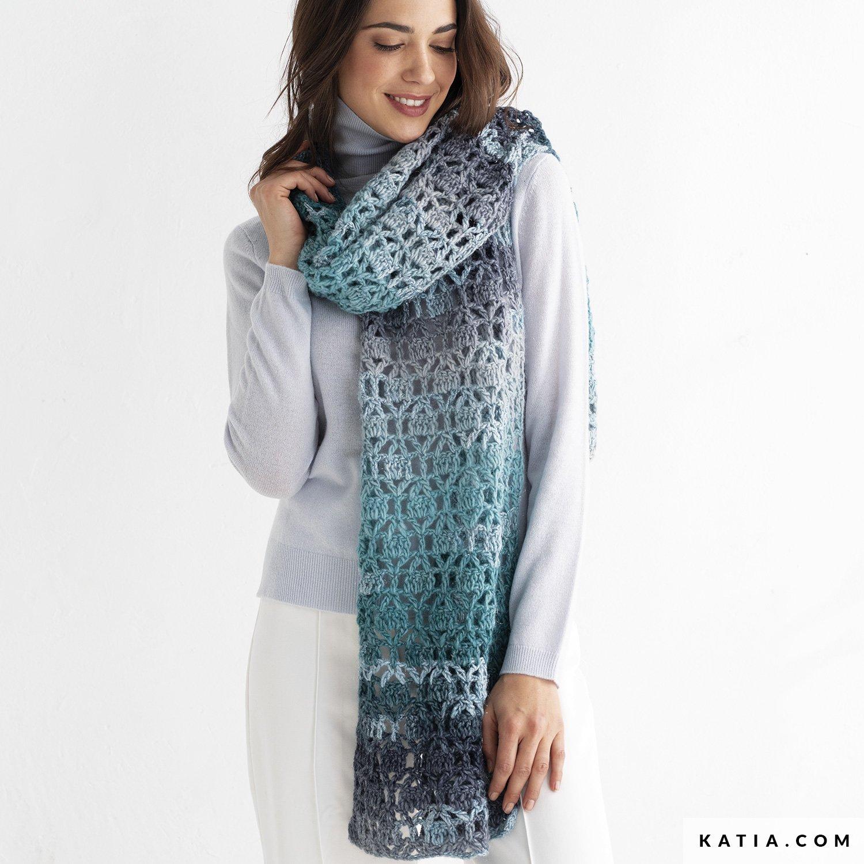 patroon breien haken dames sjaal herfst winter katia 8030 490 g