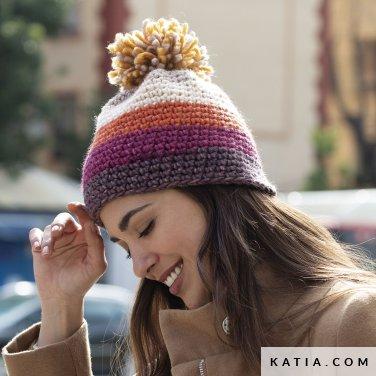 pattern knit crochet woman cap autumn winter katia 8030 484 p