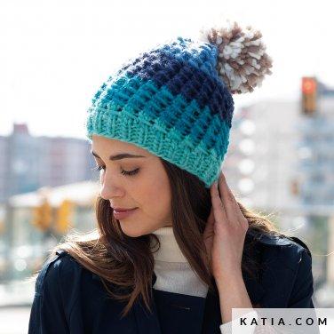 pattern knit crochet woman cap autumn winter katia 8030 486 p