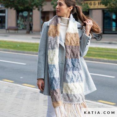 pattern knit crochet woman scarf autumn winter katia 8030 488 p