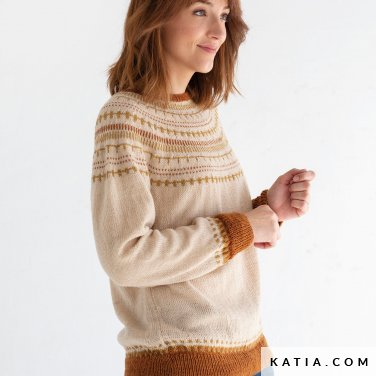 pattern knit crochet woman sweater autumn winter katia 8030 459 p