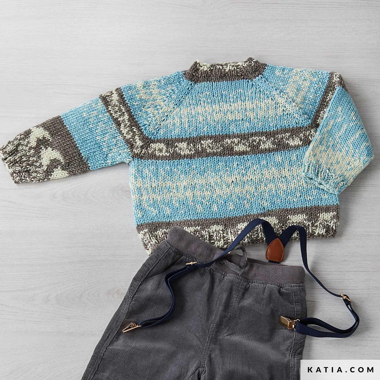 patroon breien haken kinderen trui herfst winter katia 8032 472 g