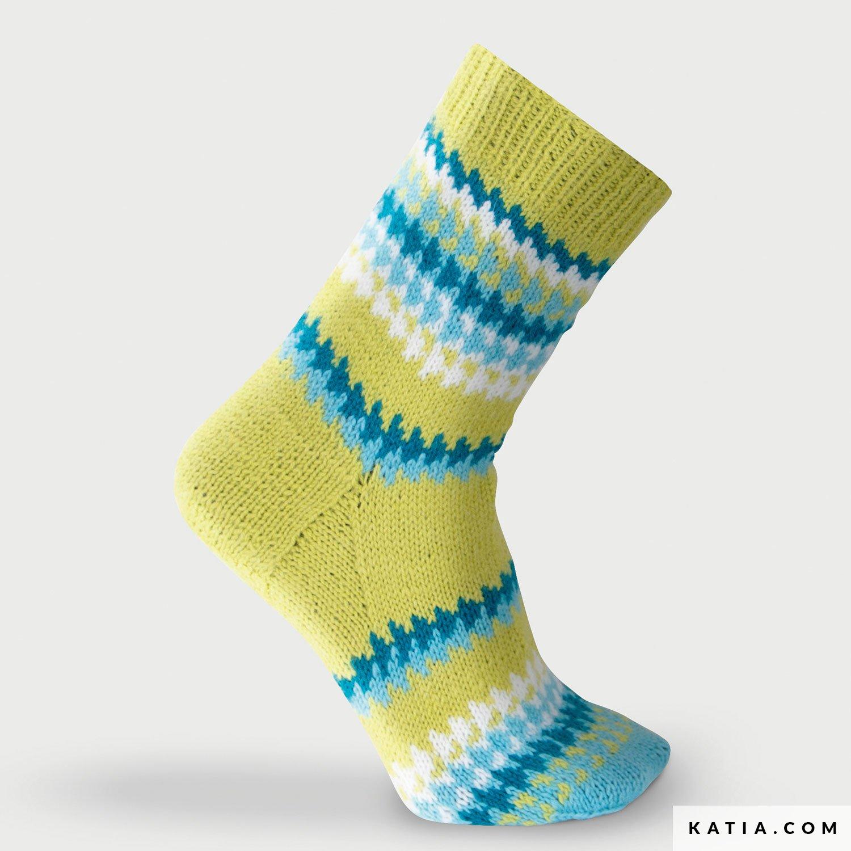 patroon breien haken sokken korte sokken herfst winter katia 8032 400 g