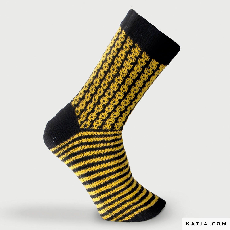 patroon breien haken sokken korte sokken herfst winter katia 8032 402 g